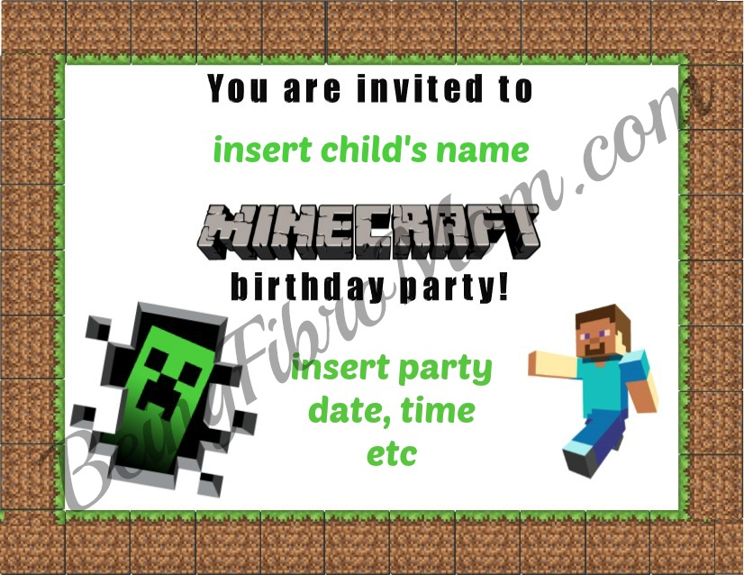 Minecraft birthday party printables decorations and food birthday invitations minecraft birthday invite minecraft minecraftbirthday minecraftbirthdayinvite solutioingenieria
