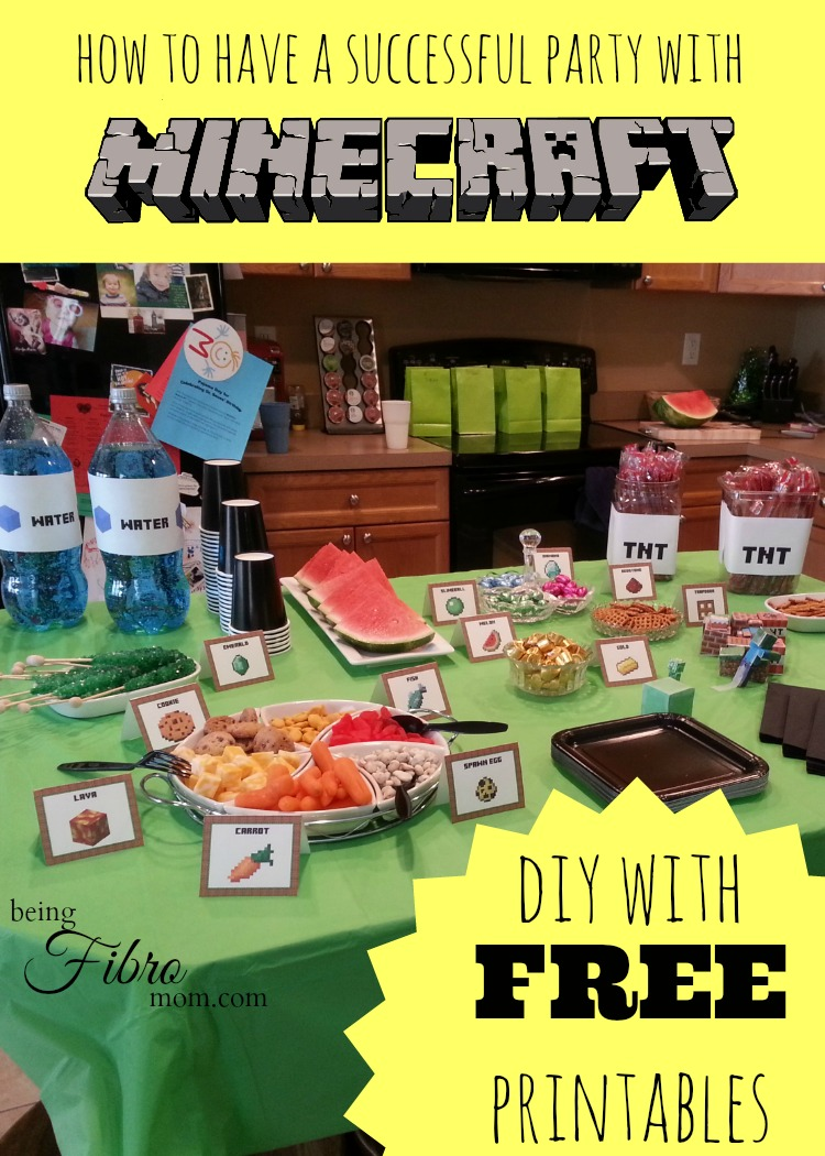 Minecraft Party Decorations Minecraft Birthday Party Printables Decorations And Food